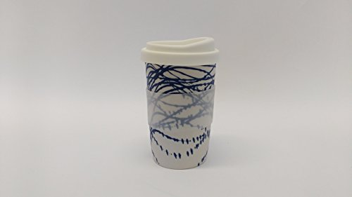 a pair of white with blue swirls handmade to-go/travel cups for home, car or coffee shop use. Silicone lid and cuff, porcelain body. dishwasher proof. 12-14 oz. (2 cups)