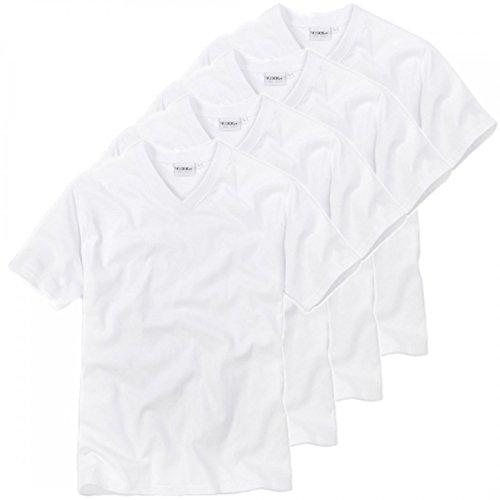 Ceceba 4 er Pack Herren V - T-Shirt, American Shirt, Unterhemd - Übergrößen, Grösse:XXX-Large;Farbe:Weiss
