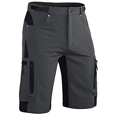 Hiauspor Mens-Outdoor-Hiking-Shorts Cargo Quick Dry Lightweight Short Pants with Zipper Pockets Grey
