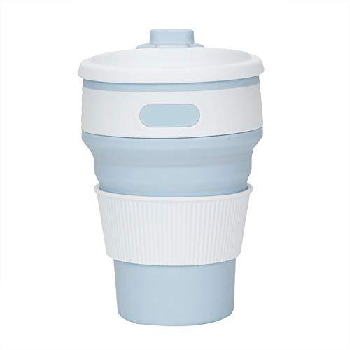 KYSM Creative Nouveau Silicone Tasse À Café Pliante Télescopique Tasse Portable 350ml Bleu Clair