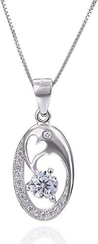 ZHIFUBA Co.,Ltd Collar Elíptico Diamante 925 Collar con Colgante de Plata para Mujer La joyería de Moda Viene con el Mejor cumpleaños para Mujeres y niñas.