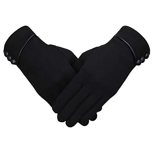 Bequemer Laden Gants d'hiver Épaisse Femme, Gants à Écran Tactile pour Femme, Gants Épais Chauds de Couleur Unie, Noir-2, Taille unique