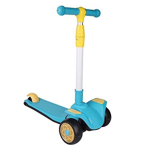 PTHZ Scooter Infantil, con Ruedas Luminosas PU Extra Anchas y Scooter Ajustable en Altura, Scooter portátil Plegable, Adecuado para niños Mayores de 2 años (Azul)