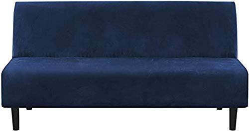 DYWLQ Felpa 1 Pieza Futon Funda de sofá elástica, Funda de sofá sin Brazos, Protector de Muebles con Base elástica, Resistente al Deslizamiento-Dark_Blue_2