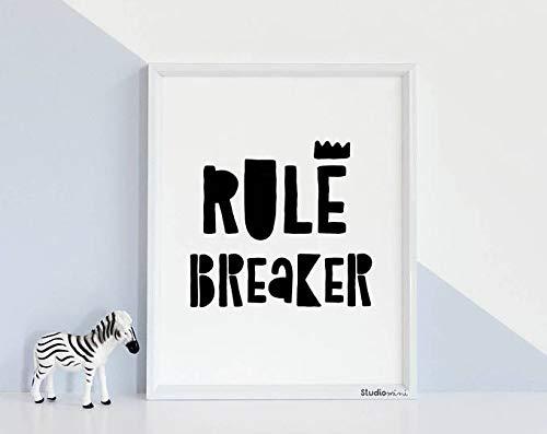 Azsteel - Póster de pared para niños, decoración de sala de juegos, reglas Breacker, Studiomini, tiendas más vendidas, impresiones para niños, blanco y negro, para niños