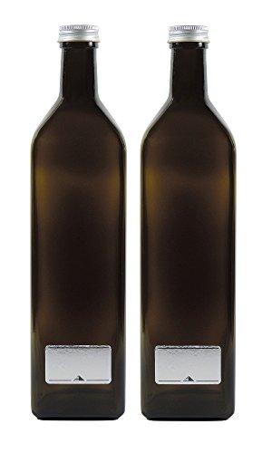 Mikken 2x grün-braune Glasflasche 1000ml, Ölflasche inkl. 2 Beschriftungsetiketten
