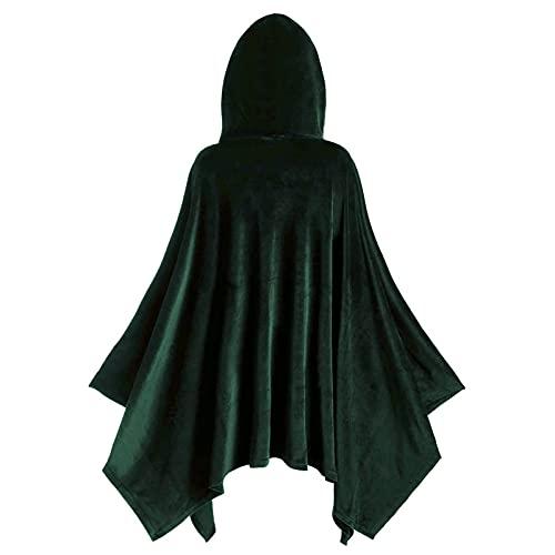 Xisimei Capa de terciopelo con capucha unisex para adultos, disfraz de bruja vampiro, disfraz de cosplay con capucha para hombre y mujer, de doble cara, para fiestas y bailes, verde, L