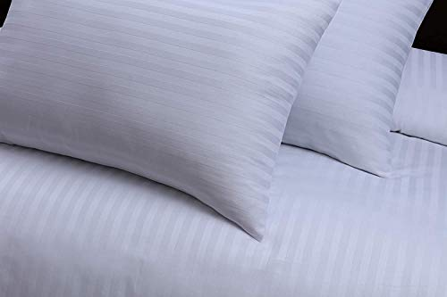 Indus Textiles Duvet Cover Set 220 Thread Count 100% Egyptian Cotton Satin (White, 2 House Wife Pillowcases)