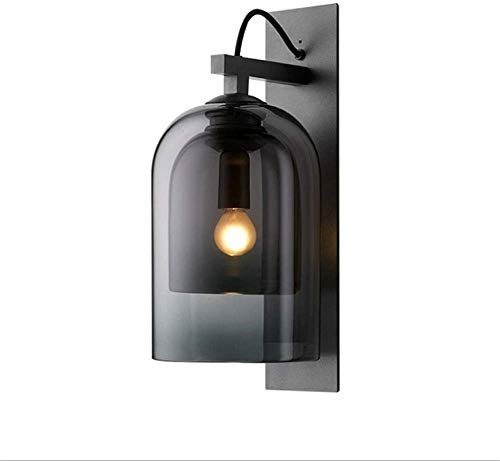 Lámpara industrial, Luz de pared de cristal gris de humo, Lámpara de pared de hierro forjado Minimalista Postmoderna, Lámpara de Pared de Casas de alojamiento Nórdica Creativa Corredor Modelo Modelo W