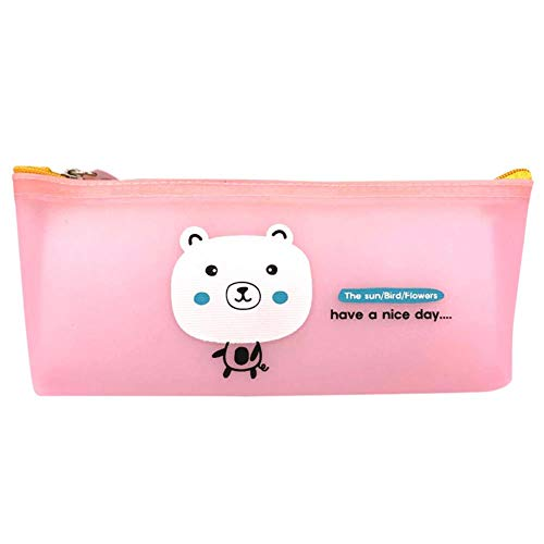 Drawihi Pencil Case Cute Silicone Bear Pattern Suitable for Students to Organize Pencils Rulers Learning Stationery Storage Bags Pink