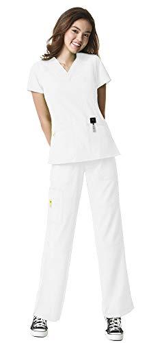 WonderWink Four-Stretch Women's Medical Uniforms Scrub Set Bundle- 6214 Sporty V-Neck Top & 5214 Elastic Waist Cargo Pant & MS Badge Reel (White - Large/Large Tall)