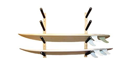 El bastidor puede almacenar hasta 4 tablas de surf, tablas largas, tablas de snowboard y estelas. Hecho de una base de madera de pino blanco con gruesos brazos de madera de pino. Cada brazo está envuelto en una funda de espuma gruesa para evitar golp...