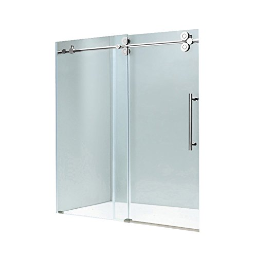 "VIGO VG6041CHCL7274 Elan 68 – 72 Inch Sliding Frameless Shower Door with 3/8"" Clear Glass and 304 Stainless Steel Hardware, in Chrome Finish"