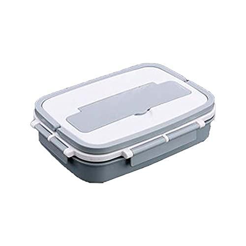 Batchelo Bento Box - Fiambrera con tapa de bloqueo, a prueba de fugas, cuatro compartimentos, para lavavajillas, congelador, microondas, para niños y adultos, color azul