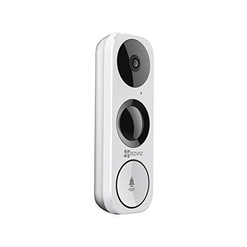 EZVIZ DB1 Doorbell Campanello Smart con sensore PIR e Telecamera incorporati, Wi-Fi, Funzione Giorno/Notte, Bianco, Nero