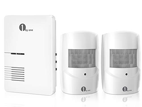 Driveway Alarm, 1byone Motion Sensor 1000ft Operating Range, 36 Melodies, Home Security Alert System with 1 Plug-in Receiver and 2 Weatherproof PIR Motion Detector, Protect Indoor/Outdoor Property