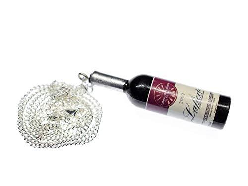 Miniblings Rotwein Kette Halskette Weinflasche rot 60cm Kunststoff Wein braun - Handmade Modeschmuck - Gliederkette versilbert