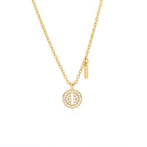 Collar de cuello con letra inicial en circonita cz para mujer Cadena de oro con colgante alfabeto