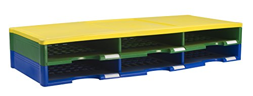 Storex 6-compartment littérature Organiseur, 79,7 x 35,9 x 14 cm, Bleu/jaune/vert (61433u01 C)