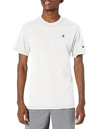 Champion Classic Contrast Stitch tee Camiseta, Blanco, S para Hombre