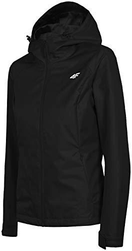 4F Damen Übergangsjacke wasserdichte Jacke für Frühling | Outdoorjacke mit Kapuze KUD001 Regenjacke (Schwarz, M)