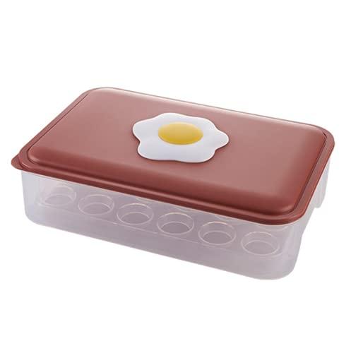 Aidou, cestino per uova con coperchio, 24 griglie, per frigorifero, organizer riutilizzabile, per cibo fresco