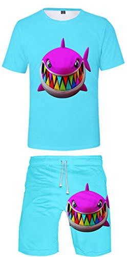 Silver Basic 6ix9ine Camiseta Deportiva para Hombre 6ix9ine Gooba Camiseta y Pantalones Cortos Conjunto de Verano Tekashi69 Camiseta para Hombres y Niños S,6807Azul-3