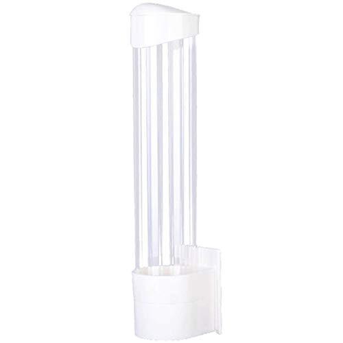 Basage Dispensador de Vasos de Papel Soporte para Vasos de PláStico Soporte AutomáTico Desechable una Prueba de Polvo PerforacióN Libre Soporte para Vasos de Papel Blanco