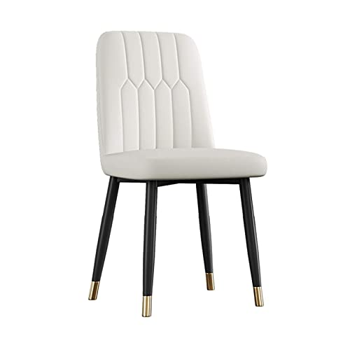 N&O Renovation House Dining Chairs Retro Lounge Side Chairs Soft PU Leather Upholstered Seat Cushioned Pad with Strong Metal Legs Kitchen Cafe Office (Color : White Size : Without Foot Covers)