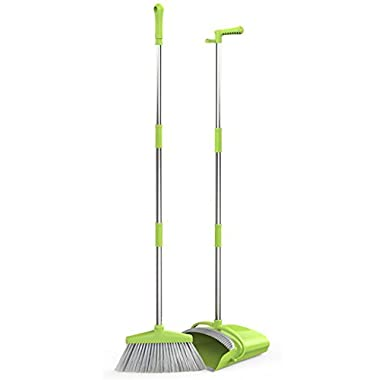 GDORUN Broom and Dustpan Set,Grips Sweep Set and Lobby Broom Combo Upright Grips Sweep Set with Extendable Broom,47 Inch Overall Height Home Office Use(Green)