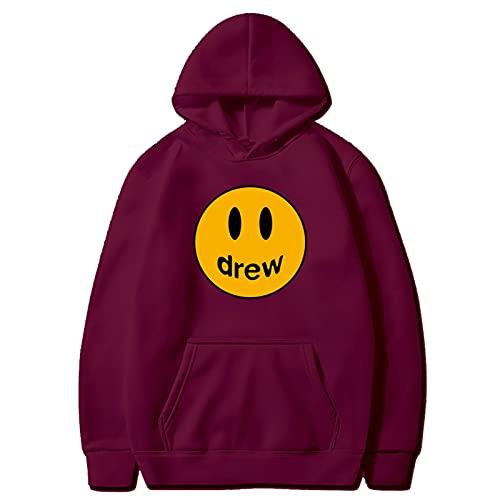 Drew Ju-Stin Bi-Eber Hoodies für Männer Frauen Teenager, Unisex Fans Pullover Hooded Sweatshirts,Wine red,M
