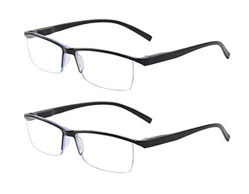 ALWAYSUV 2 Pack Anti Blue Lesebrillen Halber Rahmen Feder Scharnier Blaulicht Lesebrille Blaulichtfilter Computer Brillen Augenoptik Brille Lesehilfen für Damen Herren