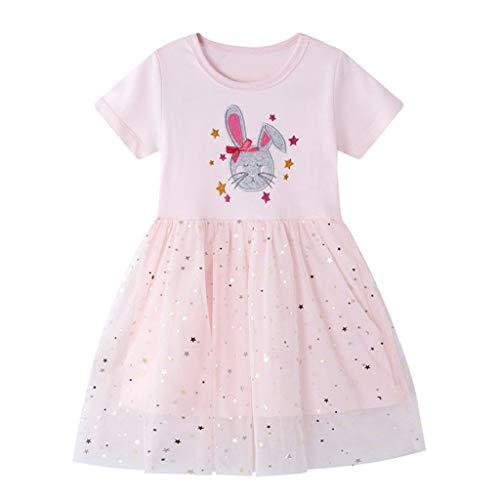 Alwayswin Kinder Baby Mädchen Kaninchen Prinzessin Pailletten Tüll Kleid Kurzarm T-Shirt Kleid Tunika Kleid Sommerkleid Festival Party Nähen A-Linien Kleid