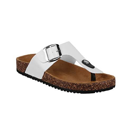 Elara Damen Sandalen Zehentrenner Sandalette Chunkyrayan PF5330 White-39