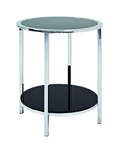 Haku Moebel table d'appoint, Acier, chromé-Noir, 54x45x54 cm