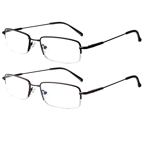 Gafas de Lectura, Gafas de Lectura de luz Anti-Azul for Hombres y Mujeres, Fatiga Anti-Ocular, con Estructura de Metal, Lector de radiación informática for Hombres