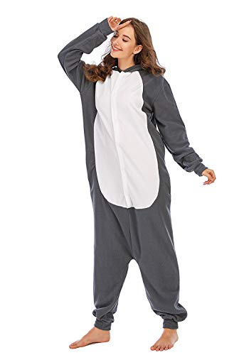 BGOKTA Disfraces de Cosplay para Adultos Pijamas de Animales One Piece Lobo-2, L