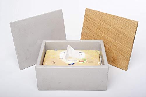Gutmann-Design Box für feuchtes Toilettenpapier Feuchttücherbox Aufbewahrungsbox aus Beton und Eichenholz handgemacht in Deutschland