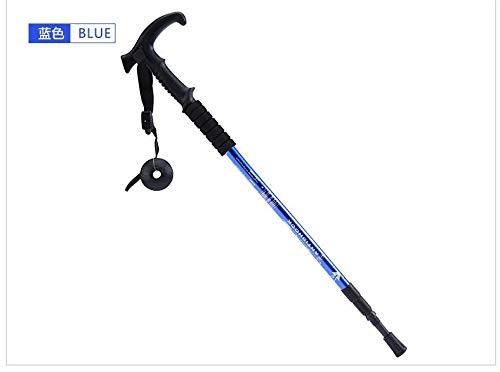 XYL HOME Produits de Plein air Amortisseur t poignée incurvée 3 bâtons de randonnée Canne Fournitures de Plein air, Bleu