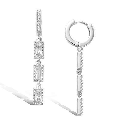 AGVANA Pendientes de plata de ley 925 chapado en oro blanco pendientes largos de gota colgantes circonita cz brillante para mujeres niñas con caja de regalo de joyas longitud total: 39mm