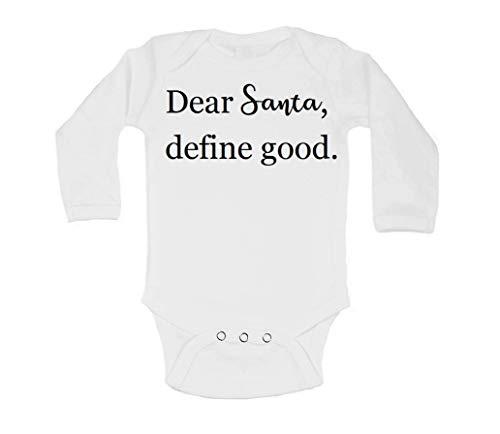 Promini Dear Santa, Define Good Christmas Langarm-Geschenk, niedlich, lustig, stilvoll, Baby-Body Gr. 80, weiß
