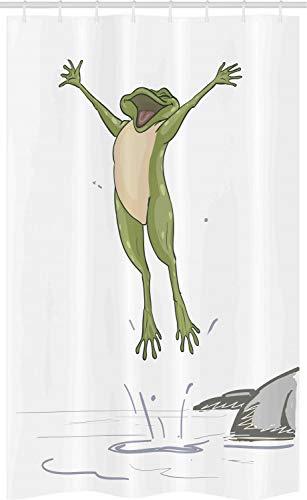 ABAKUHAUS Frosch Schmaler Duschvorhang, Glücklicher Springender Kröten-Spaß, Badezimmer Deko Set aus Stoff mit Haken, 120 x 180 cm, Olivengrün Grau