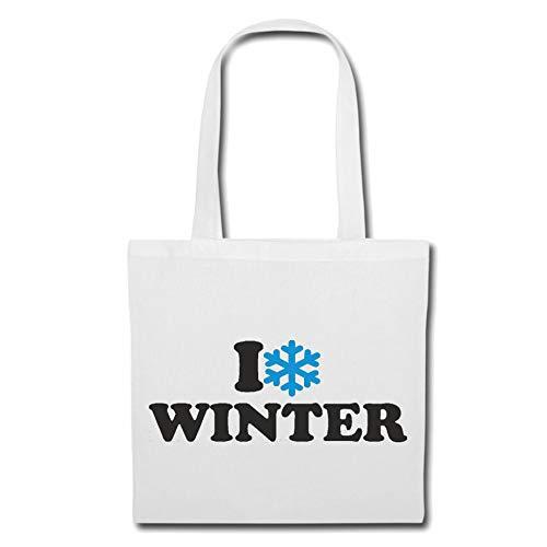 Tasche Umhängetasche I LOVE WINTER - SCHNEE - EIS - SCHNEEBALLSCHLACHT - GLÜHWEIN Einkaufstasche Schulbeutel Turnbeutel in Weiß