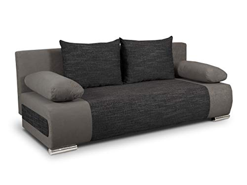 Schlafsofa Naki - Sofa mit Schlaffunktion und Bettkasten, Bettsofa, Couchgarnitur, Couch, Sofagarnitur, Bett (Grau + Schwarz (Alova 36 + Berlin 02))