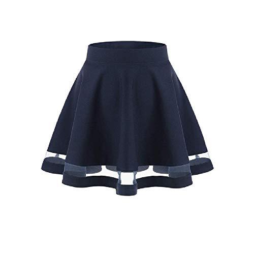 Falda bsica verstil y elstica acampanada casual mini patinadora falda de lentejuelas negro corto mujer