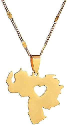 Yiffshunl Collar de Acero Inoxidable de Moda, Collar con Colgante de Mapa de Venezuela, joyería, Collar con Encanto de Mapa venezolano