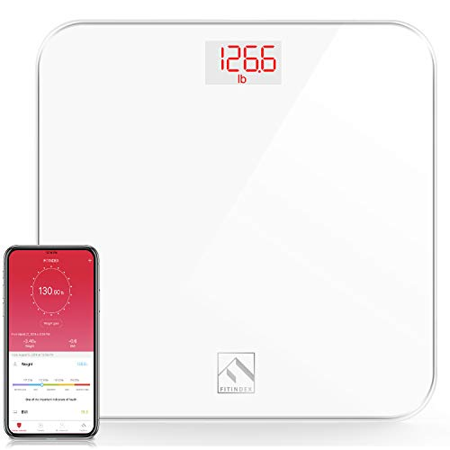 FITINDEX Smart Digital Body Weight Scale Bluetooth BMI Bathroom Scale with Smartphone App Stepon Technology Sturdy Tempered Glass