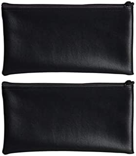 PM Company Securit Bank Deposit/Utility Zipper Coin Bag, 11 X 6 Inches, Black (2 Pack)