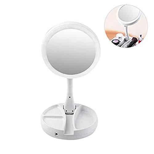 GOCF Miroir De Maquillage Portable Grossissement USB LED Double Face Miroir Rotatif Pliant pour Le Maquillage De Comptoir