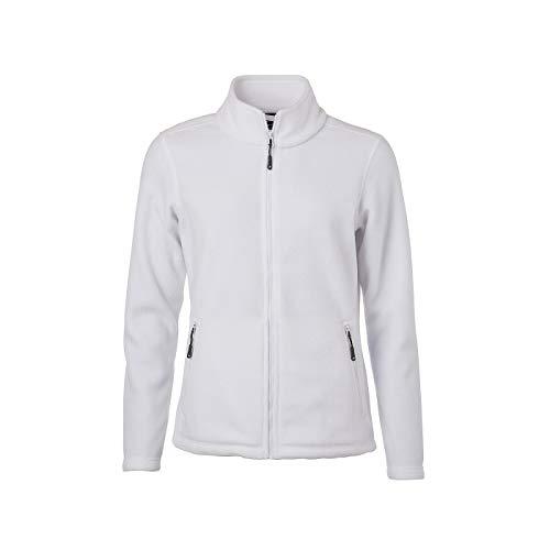 James & Nicholson - Damen Fleece Jacke mit Stehkragen im Klassischen Design (S, White)